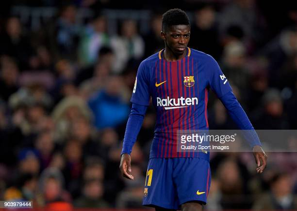 Ousmane Dembele of Barcelona reacts during the Copa del Rey Round of 16 second Leg match between Barcelona and Celta de Vigo at Camp Nou on January...