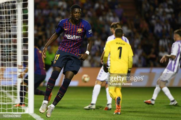 Ousmane Dembele of Barcelona reacts during the La Liga match between Real Valladolid CF and FC Barcelona at Jose Zorrilla on August 25 2018 in...