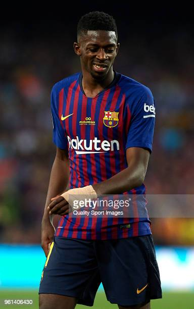 Ousmane Dembele of Barcelona reacts during the La Liga match between Barcelona and Real Sociedad at Camp Nou on May 20 2018 in Barcelona Spain
