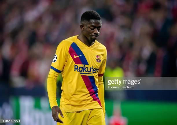 Ousmane Dembele of Barcelona reacts during the UEFA Champions League group F match between Slavia Praha and FC Barcelona at Eden Stadium on October...