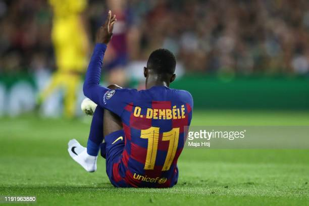 Ousmane Dembele of Barcelona reacts during the UEFA Champions League group F match between FC Barcelona and Borussia Dortmund at Camp Nou on November...
