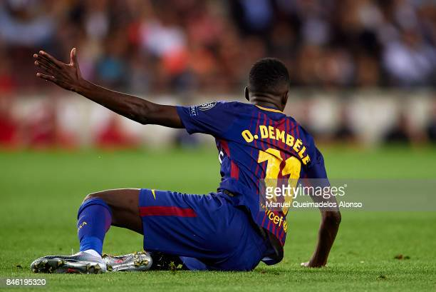 Ousmane Dembele of Barcelona reacts on the field during the UEFA Champions League group D match between FC Barcelona and Juventus at Camp Nou on...