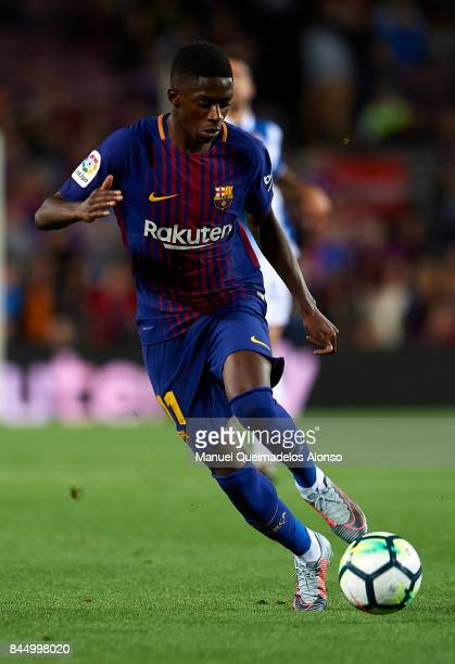 Ousmane Dembele of Barcelona runs with the ball during the La Liga match between Barcelona and Espanyol at Camp Nou on September 9 2017 in Barcelona...