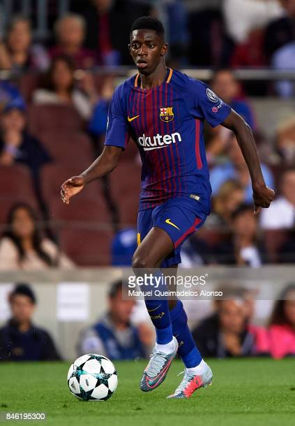 Ousmane Dembele of Barcelona runs with the ball during the UEFA Champions League group D match between FC Barcelona and Juventus at Camp Nou on...