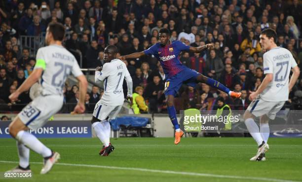 Ousmane Dembele of Barcelona scores their second goal during the UEFA Champions League Round of 16 Second Leg match FC Barcelona and Chelsea FC at...