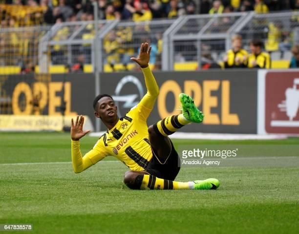 Ousmane Dembele of Borussia Dortmund celebrates after scoring a goal during the Bundesliga soccer match between Borussia Dortmund and Bayer 04...