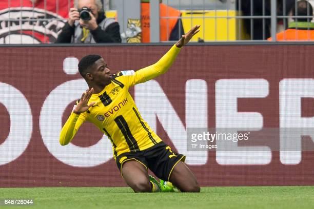 Ousmane Dembele of Borussia Dortmund celebrates after scoring a goal during the Bundesliga match between Borussia Dortmund and Bayer 04 Leverkusen at...
