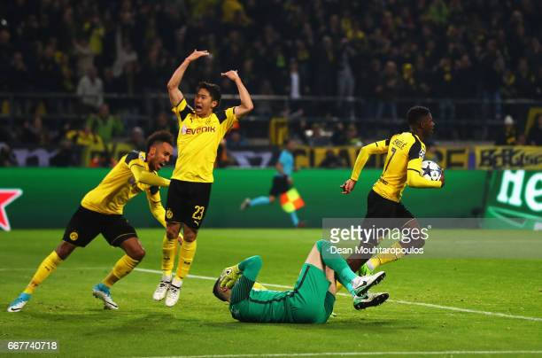 Ousmane Dembele of Borussia Dortmund celebrates after scoring his team's first goal of the game during the UEFA Champions League Quarter Final first...