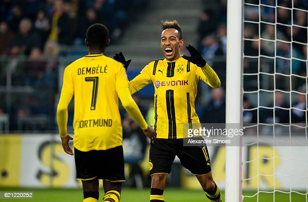 Ousmane Dembele of Borussia Dortmund celebrates after scoring the goal to the 15 together with PierreEmerick Aubameyang during the Bundesliga match...