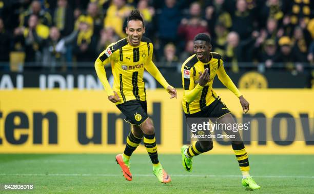 Ousmane Dembele of Borussia Dortmund celebrates after scoring the goal to the 30 together with PierreEmerick Aubameyang during the Bundesliga match...