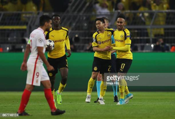 Ousmane Dembele of Borussia Dortmund celebrates with team mates after scoring his team's second goal of the game during the UEFA Champions League...