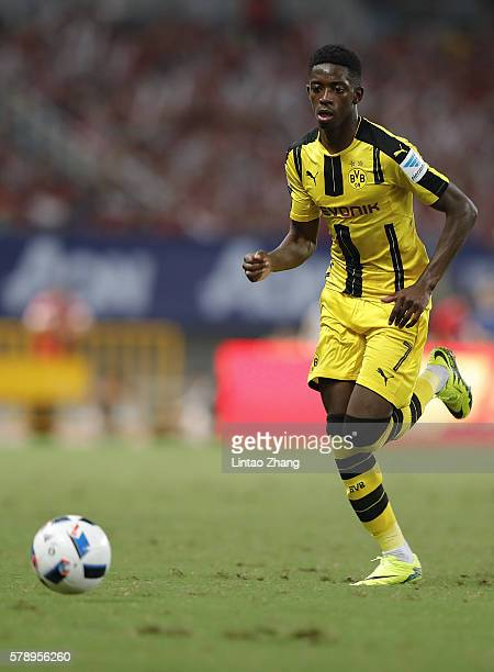 Ousmane Dembele of Borussia Dortmund competes for the ball during the International Champions Cup match between Manchester United and Borussia...