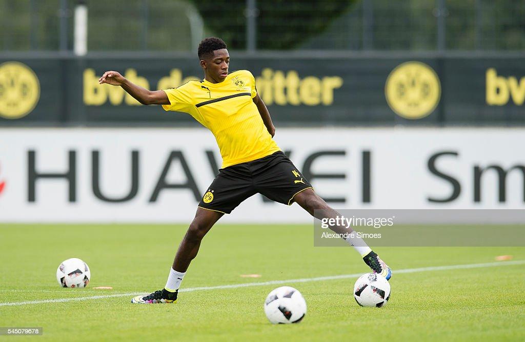 Ousmane Dembele of Borussia Dortmund during a training session on ...