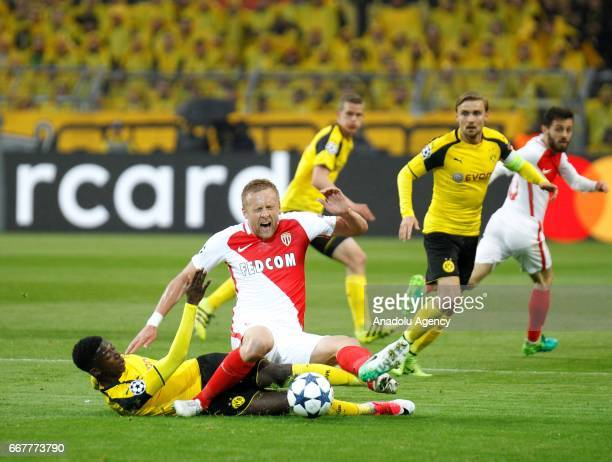 Ousmane Dembele of Borussia Dortmund in action against Kamil Glik of AS Monaco during the UEFA Champions League QuarterFinal soccer match between...