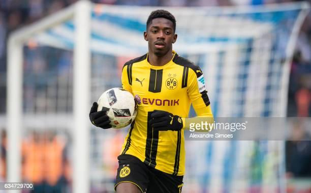 Ousmane Dembele of Borussia Dortmund in action during the Bundesliga match between SV Darmstadt 98 and Borussia Dortmund at the Stadion am...