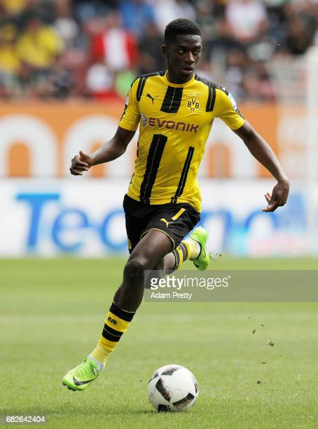 Ousmane Dembele of Borussia Dortmund in action during the Bundesliga match between FC Augsburg and Borussia Dortmund at WWK Arena on May 13 2017 in...