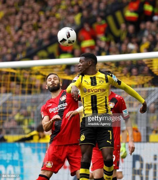 Ousmane Dembele of Borussia Dortmund in action with Omer Toprak of Bayer 04 Leverkusen during the Bundesliga soccer match between Borussia Dortmund...