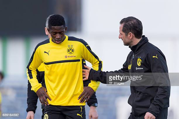Ousmane Dembele of Borussia Dortmund looks on during the sixth day of the training camp in Marbella on January 10 2017 in Marbella Spain