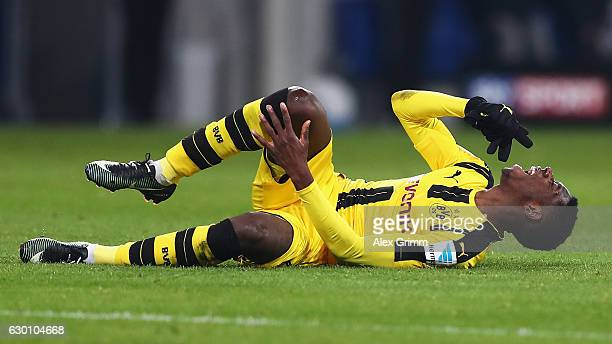 Ousmane Dembele of Borussia Dortmund reacts to a tackle during the Bundesliga match between TSG 1899 Hoffenheim and Borussia Dortmund at Wirsol...
