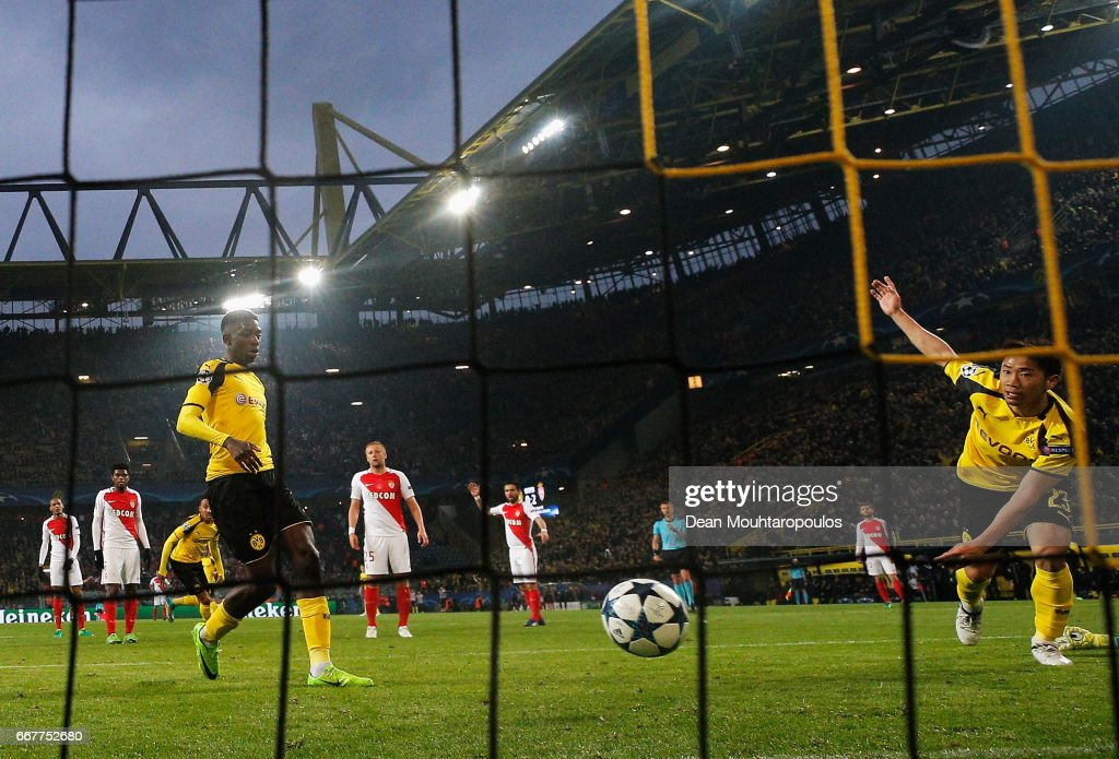 Ousmane Dembele of Borussia Dortmund scores his team's first goal of the game during the UEFA Champions League Quarter Final first leg match between Borussia Dortmund and AS Monaco at Signal Iduna Park on April 12, 2017 in Dortmund, Germany. The match was rescheduled after an alleged terrorist attack on the Borussia Dortmund team coach as it made it's way to the stadium.