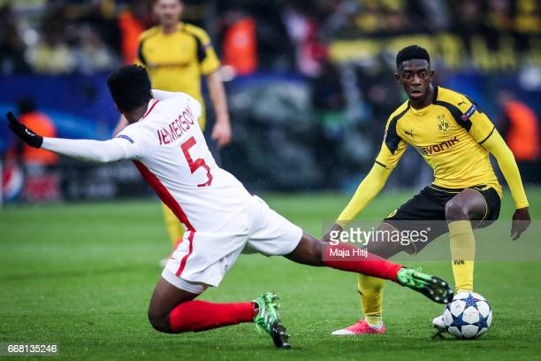 Ousmane Dembele of Dortmund and Jemerson of Monaco fight for the ball during the UEFA Champions League Quarter Final first leg match between Borussia...