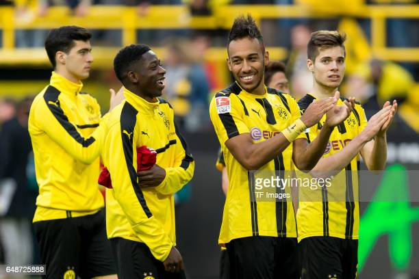 Ousmane Dembele of Dortmund and PierreEmerick Aubameyang of Dortmund celebrate their win after the Bundesliga match between Borussia Dortmund and...