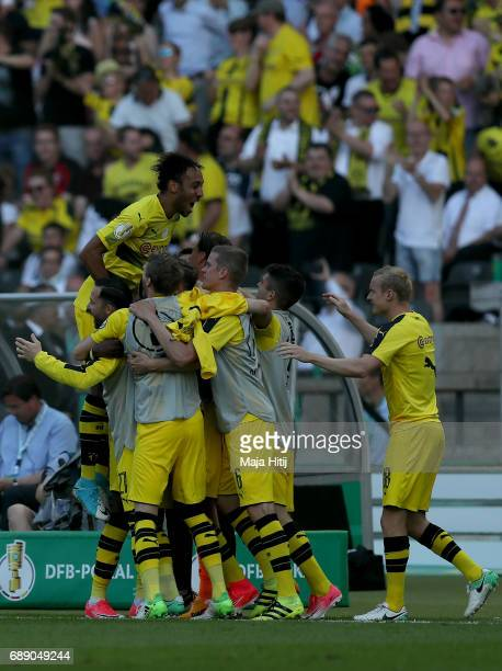 Ousmane Dembele of Dortmund celebrates his opening goal with team mates during the DFB Cup final match between Eintracht Frankfurt and Borussia...