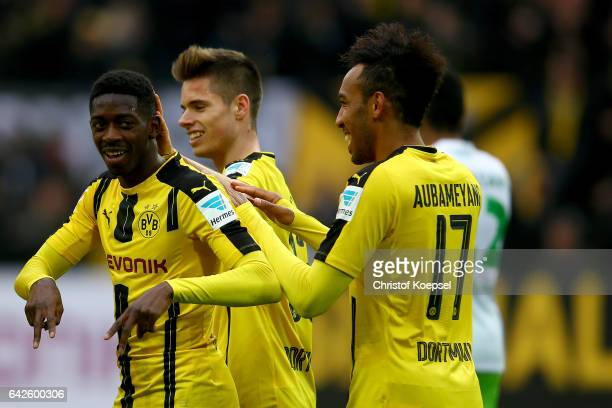 Ousmane Dembele of Dortmund celebrates the third goal with PierreEmerick Aubameyang of Dortmund during the Bundesliga match between Borussia Dortmund...