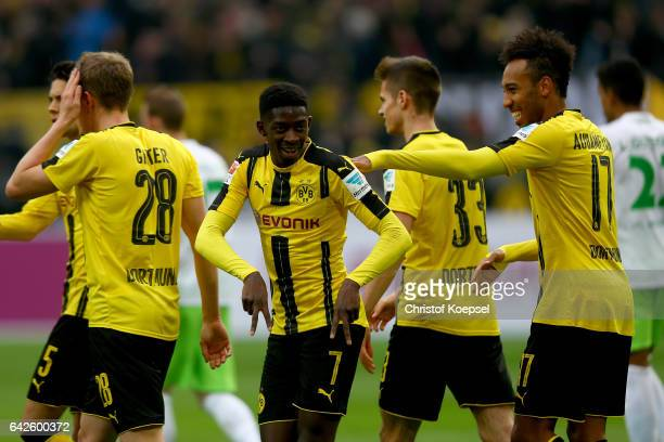 Ousmane Dembele of Dortmund celebrates the third goal with PierreEmerick Aubameyang of Dortmund during the Bundesliga match between Borussia Dortmund...