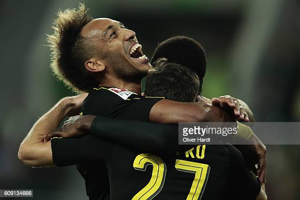 Ousmane Dembele of Dortmund celebrates with teammates after his team's goal during the Bundesliga match between VfL Wolfsburg and Borussia Dortmund...