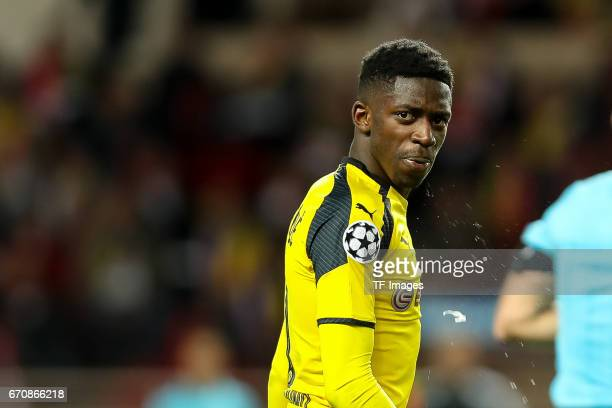 Ousmane Dembele of Dortmund looks on during the UEFA Champions League quarter final second leg match between AS Monaco and Borussia Dortmund of...