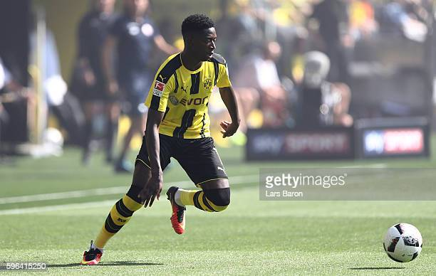 Ousmane Dembele of Dortmund runs with the ball during the Bundesliga match between Borussia Dortmund and 1 FSV Mainz 05 at Signal Iduna Park on...