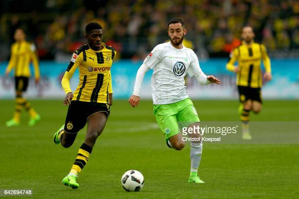 Ousmane Dembele of Dortmund runs with the ball during the Bundesliga match between Borussia Dortmund and VfL Wolfsburg at Signal Iduna Park on...