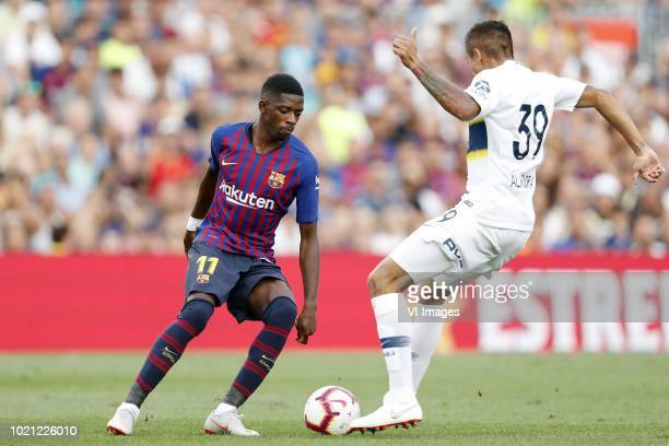 Ousmane Dembele of FC Barcelona Agustin Almendra of CA Boca Juniors during the Trofeu Joan Gamper match between FC Barcelona and Boca Juniors at the...