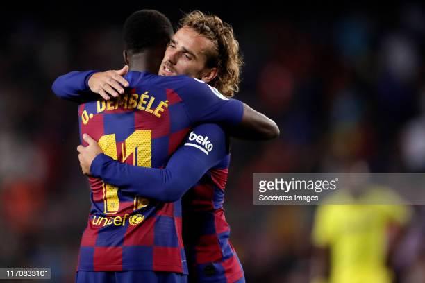 Ousmane Dembele of FC Barcelona, Antoine Griezmann of FC Barcelona celebrates the victory during the La Liga Santander match between FC Barcelona v...