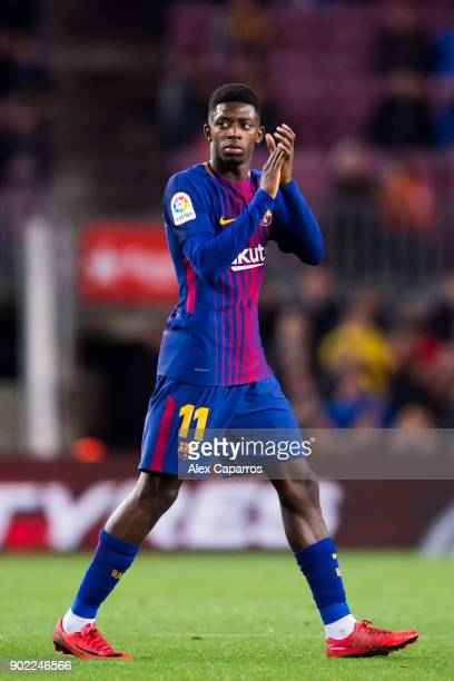 Ousmane Dembele of FC Barcelona applauds to the crowd as he is substituted during the La Liga match between Barcelona and Levante at Camp Nou on...