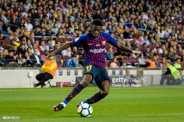 Ousmane Dembele of FC Barcelona attempts a kick during the La Liga match between Barcelona and Real Sociedad at Camp Nou on May 20 2018 in Barcelona