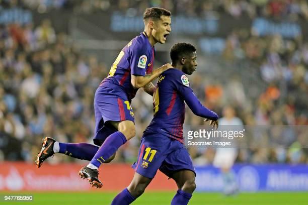 Ousmane Dembele of FC Barcelona celebrates 01 with Philippe Coutinho of FC Barcelona during the La Liga Santander match between Celta de Vigo v FC...