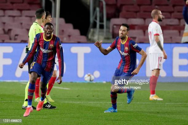 Ousmane Dembele of FC Barcelona celebrates 1-0 with Sergio Busquets of FC Barcelona during the Spanish Copa del Rey match between FC Barcelona v...