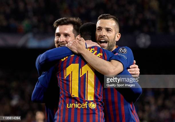 Ousmane Dembele of FC Barcelona celebrates after scoring his team's fifth goal with Lionel Messi and Jordi Alba during the UEFA Champions League...