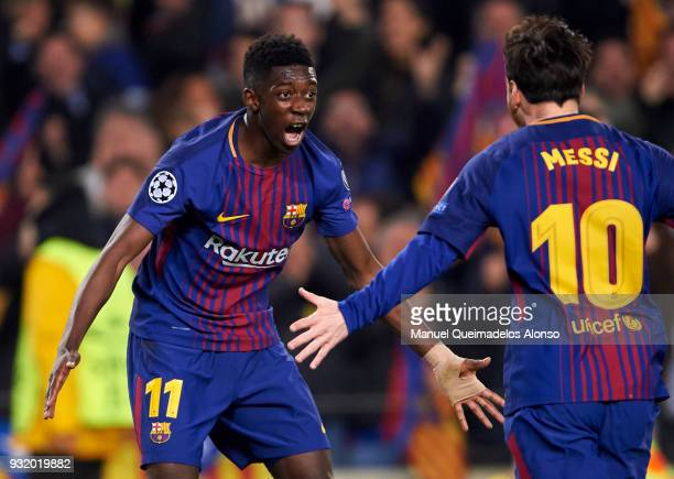 Ousmane Dembele of FC Barcelona celebrates after scoring his team's second goal with Lionel Messi of FC Barcelona during the UEFA Champions League...