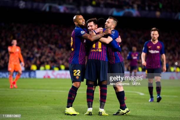 Ousmane Dembele of FC Barcelona celebrates with his teammates Lionel Messi, Arturo Vidal and Jordi Alba after scoring his team's fifth goal during...