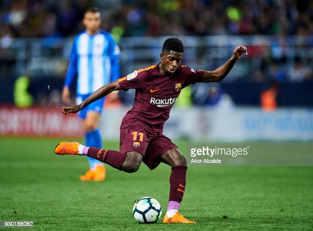 Ousmane Dembele of FC Barcelona controls the ball during the La Liga match between Malaga and Barcelona at Estadio La Rosaleda on March 10 2018 in...