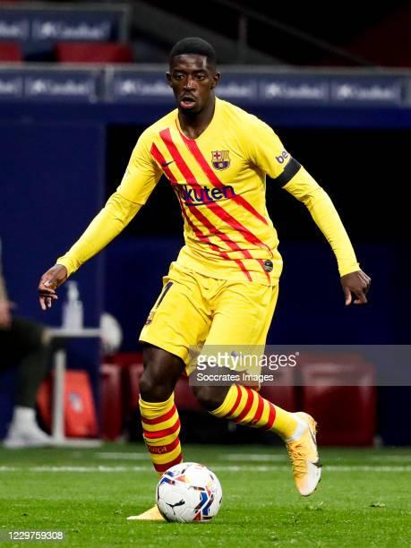 Ousmane Dembele of FC Barcelona during the La Liga Santander match between Atletico Madrid v FC Barcelona at the Estadio Wanda Metropolitano on...