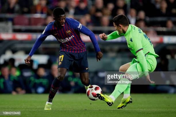 Ousmane Dembele of FC Barcelona Enis Bardhi of Levante UD during the La Liga Santander match between FC Barcelona v Levante at the Camp Nou on...