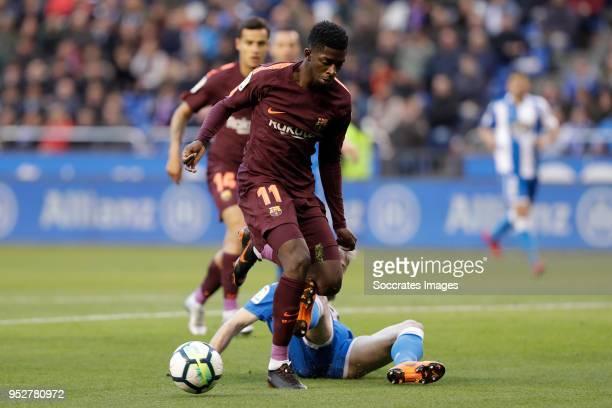 Ousmane Dembele of FC Barcelona Gerard Deulofeu of FC Barcelona during the La Liga Santander match between Deportivo la Coruna v FC Barcelona at the...