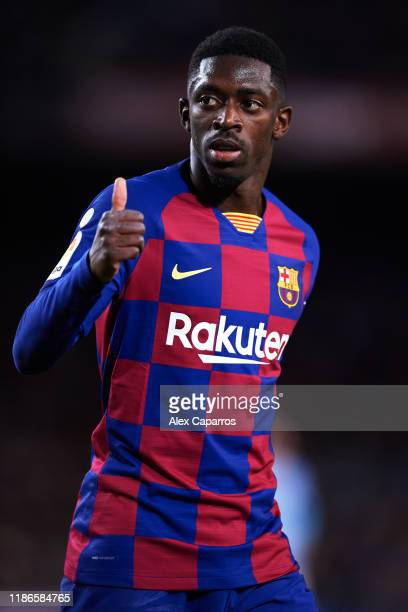 Ousmane Dembele of FC Barcelona gives thumbs up to supporters during the La Liga match between FC Barcelona and RC Celta de Vigo at Camp Nou stadium...