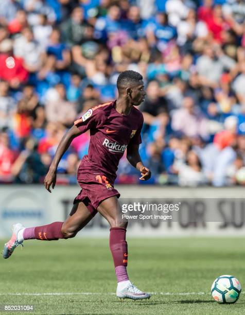 Ousmane Dembele of FC Barcelona in action during the La Liga 201718 match between Getafe CF and FC Barcelona at Coliseum Alfonso Perez on 16...