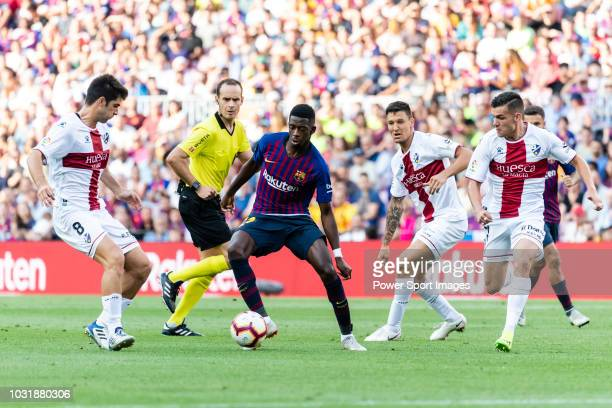 Ousmane Dembele of FC Barcelona in action during the La Liga 201819 match between FC Barcelona and SD Huesca at Camp Nou on 02 September 2018 in...
