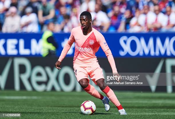 Ousmane Dembele of FC Barcelona in action during the La Liga match between SD Huesca and FC Barcelona at Estadio El Alcoraz on April 13 2019 in...